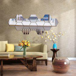 Three-dimensional Mirror Wall Stickers Personality Novel Hexagonal Acrylic Wall Stickers Combination Decoration Living Room Wall -