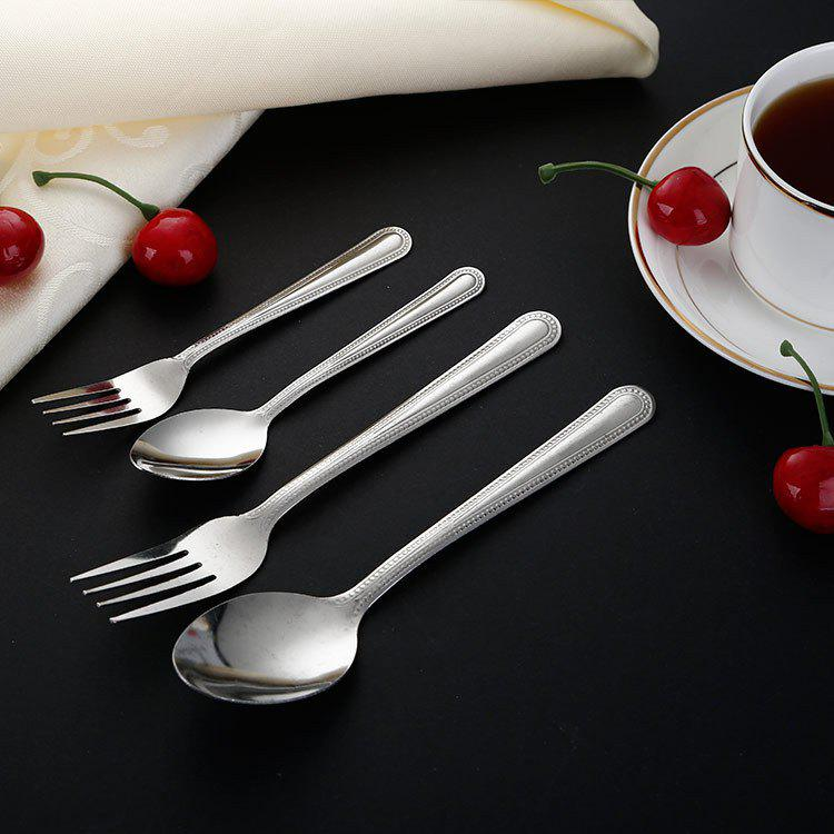 Shops Bao Lishun Stainless Steel Dessert Spoon Steak Fork Stainless Steel Spoon Fork Cutlery Set