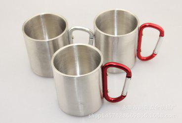 220 Stainless Steel Cup Outdoor Sport Camping Portable Water Coffee Beer Mug with Lock Buckle -