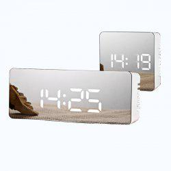 Creative Multi-function LED Clock Battery Plug-in Dual-use Mirror Alarm Clock -