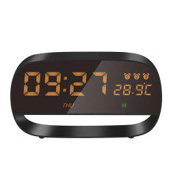 New Metal Living Room Decoration Alarm Clock Led Electronic Clock Power Supply Circular Temperature And Humidity Meter Electronic Clock -