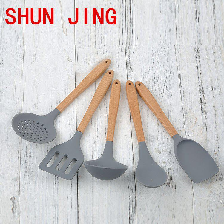 Cheap Explosive Elm Handle Nonstick Cookware Spoon Silicone Kitchenware Set Of 5 High Temperature Cooking Spoon