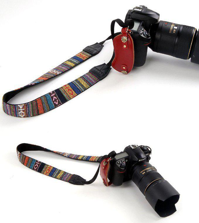 Sale Nostalgic Retro Ethnic Style Wide Shoulder Strap SLR Camera With Straps Fine Stripe Strap