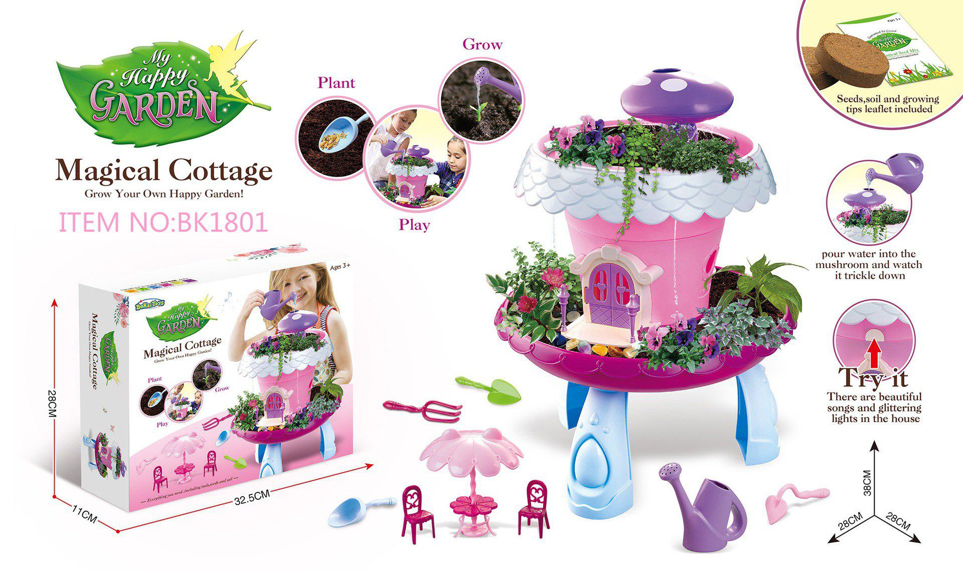 Hot Fairy Garden Huts With Light Music Planting Pots Magic Cottage Play House Toys