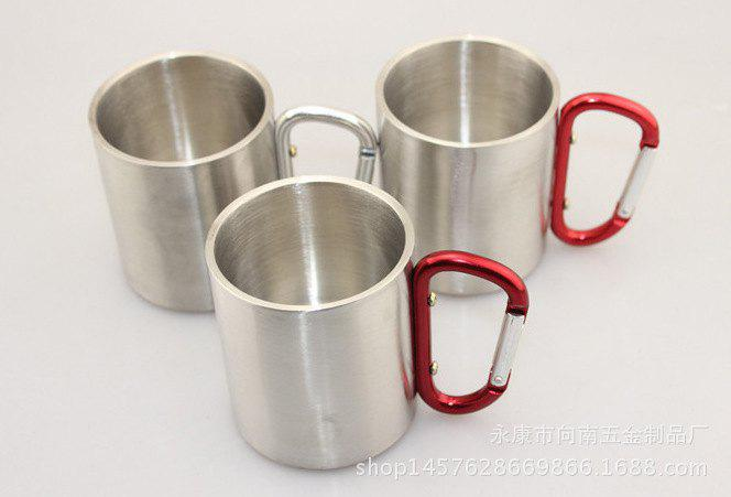Shops 220 Stainless Steel Cup Outdoor Sport Camping Portable Water Coffee Beer Mug with Lock Buckle