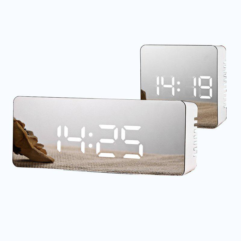 Trendy Creative Multi-function LED Clock Battery Plug-in Dual-use Mirror Alarm Clock