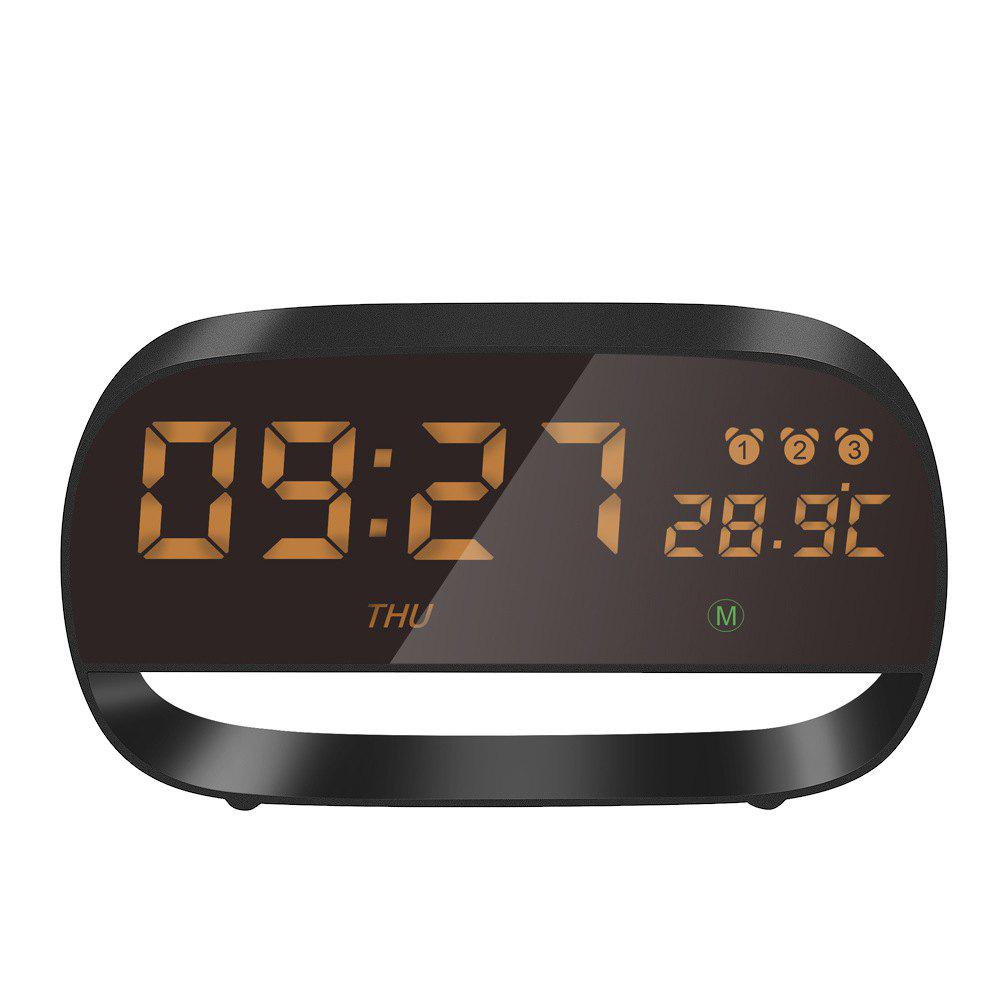 Store New Metal Living Room Decoration Alarm Clock Led Electronic Clock Power Supply Circular Temperature And Humidity Meter Electronic Clock