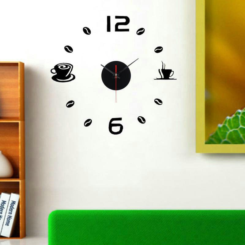 Online Creative Acrylic Stereo Mirror Wall Sticker Fashion DIY Wall Clock Wall Sticker Bedroom Fun Decorative Coffee Wall Clock