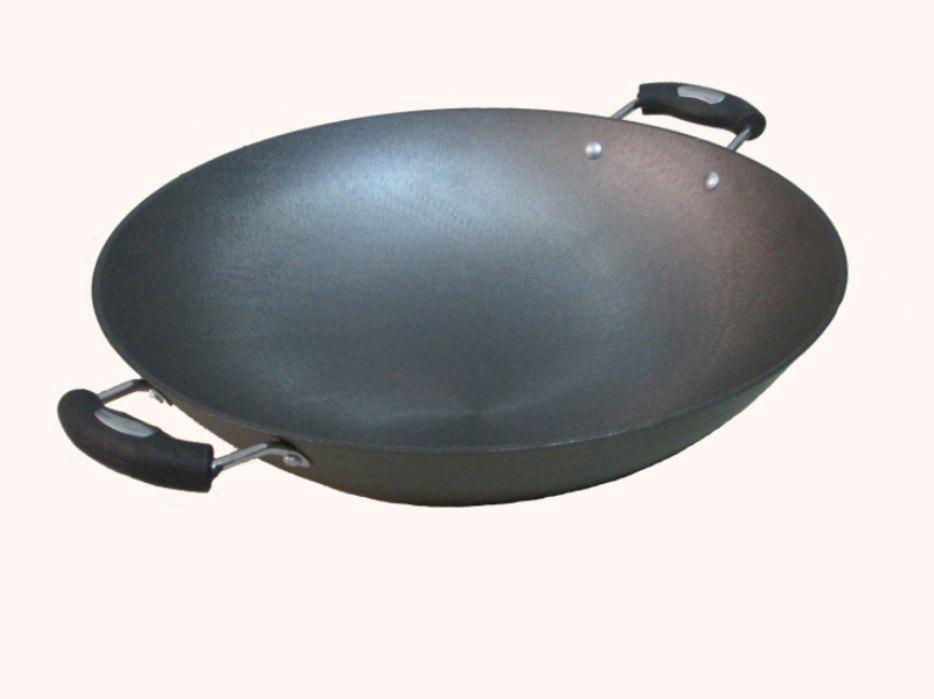 Chic New Iron Cow Brand Wok Cast Iron Pot Uncoated Binaural Pot Round Bottom Pot