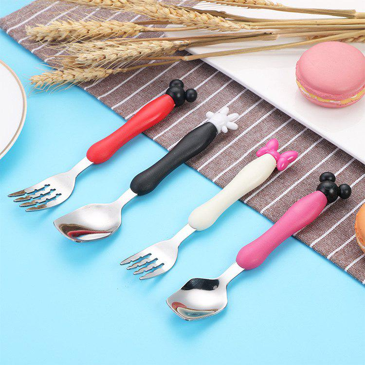Unique Creative Cartoon Children's Tableware Stainless Steel Cutlery Two-piece Cute Fork Spoon Gift Box Set