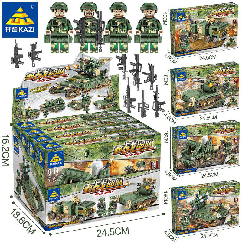 Outfits Children's Educational Toys Police Special Military Tank Engineering Truck Boy Assembled Building Blocks