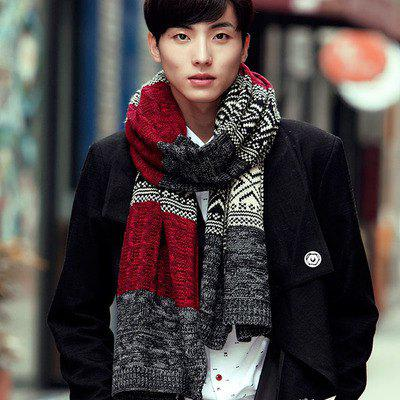 Cheap Tide Korean Men's Wool Scarf Autumn And Winter Thick Warm Knitted Knit Color Matching New