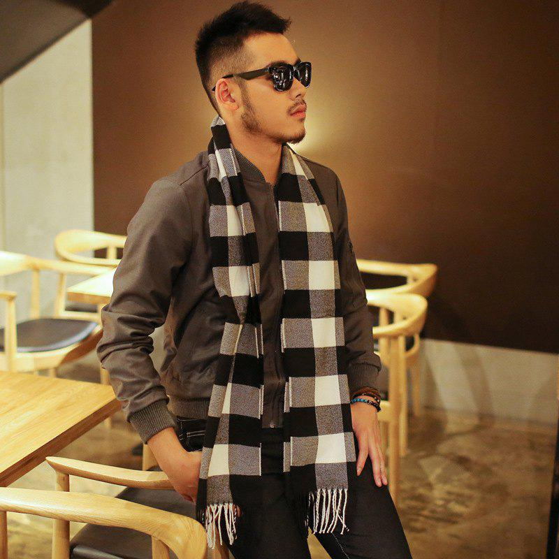 Unique Autumn And Winter New Imitation Cashmere Warm Men's Scarf Black And White Plaid Shawl
