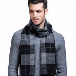 Men's Scarves New Winter Pure Wool Scarf Fashion Thick Scarf Korean Version Of The Plaid Wool Scarf -