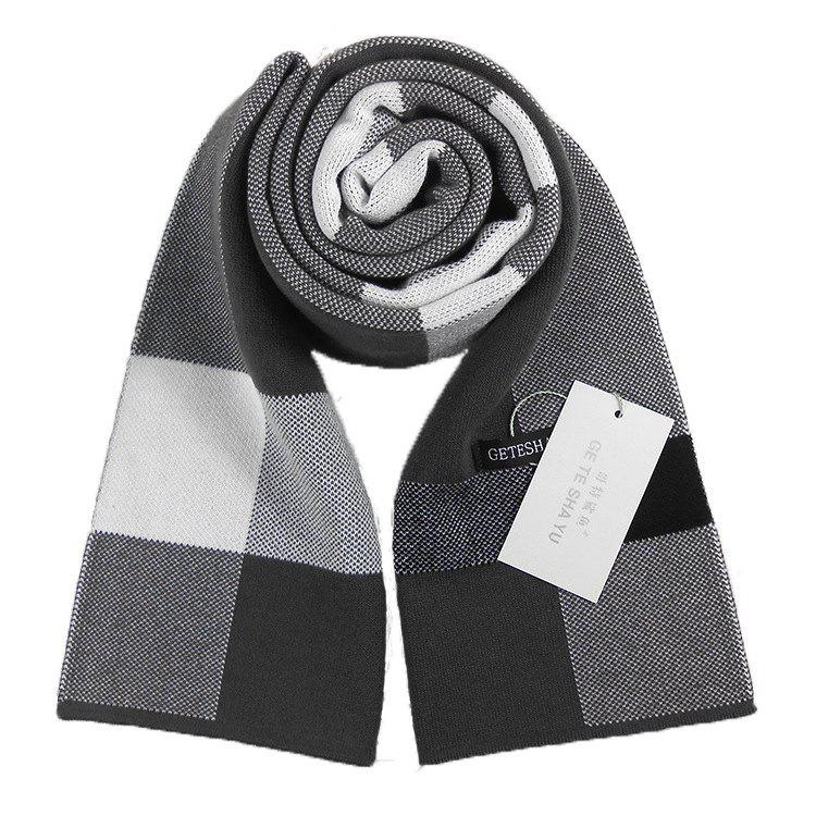 Shop Autumn And Winter New Men's Scarf Classic Square Plaid Cashmere Bib Thick Warm Business Two Sides