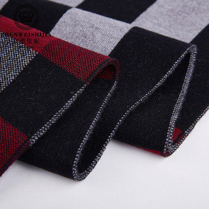 Trendy New Striped Men's Scarf Middle-aged Wool Collar Casual Warm Thick Business Men's Direct Camp