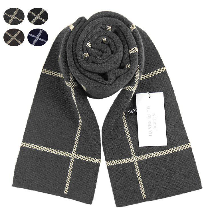 Discount Autumn And Winter New Men's Scarf Classic Square Plaid Cashmere Bib Thick Warm Business Two Sides