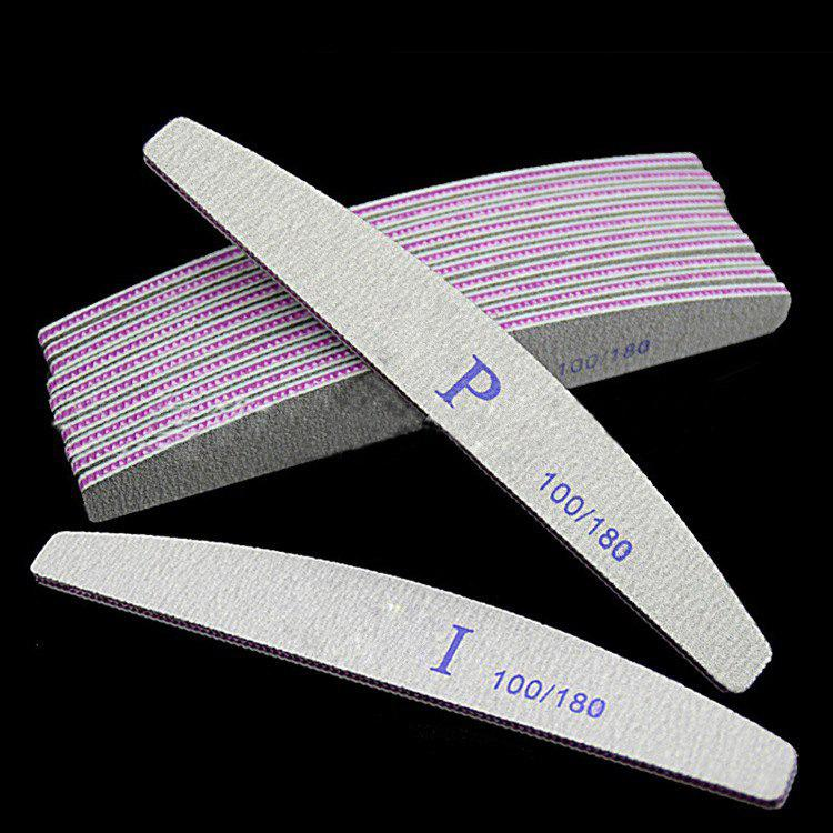 Fancy Nail File Half Moon Shape Repair Type Frustration Purple Heart Toothed Strip Polishing Bar 100/180 Mesh Emery Nail Tool