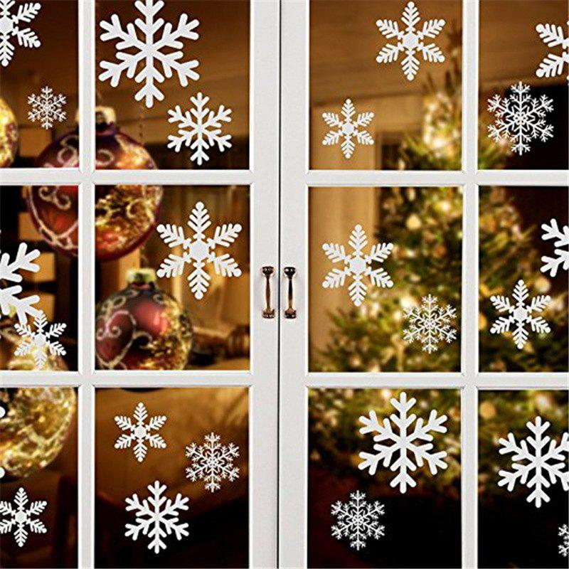 Chic Christmas Decorations Snowflakes Static Stickers Christmas Decoration Glass Window Stickers Red White Snowflake
