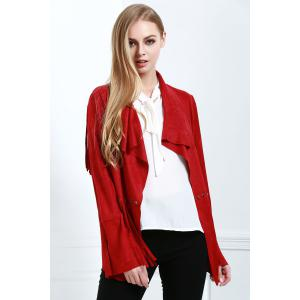 Stylish Fringe Suede Women's Coat - Red - L