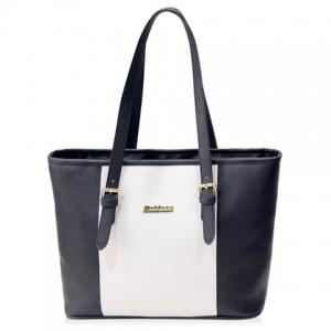 Trendy Colour Block and PU Leather Design Shoulder Bag For Women - White And Black - 40