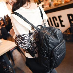 Collge Style Solid Colour and Zip Design Backpack For Women - BLACK