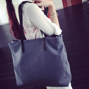 Simple Canvas and Solid Colour Design Shoulder Bag For Women -