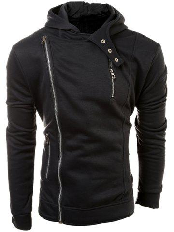 Fancy Casual Solid Color Multi-Zippers Long Sleeve Hoodie For Men