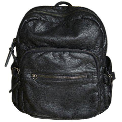 Sale Collge Style Solid Colour and Zip Design Backpack For Women BLACK