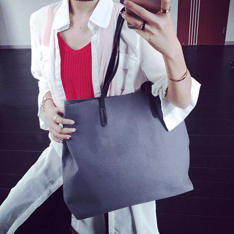 Chic Simple Canvas and Solid Colour Design Shoulder Bag For Women - LIGHT GRAY  Mobile