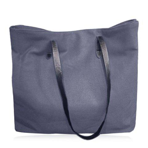 Hot Simple Canvas and Solid Colour Design Shoulder Bag For Women LIGHT GRAY