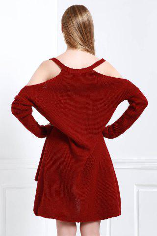 Outfit Cold Shoulder High Low Slip Sweater - S CLARET Mobile