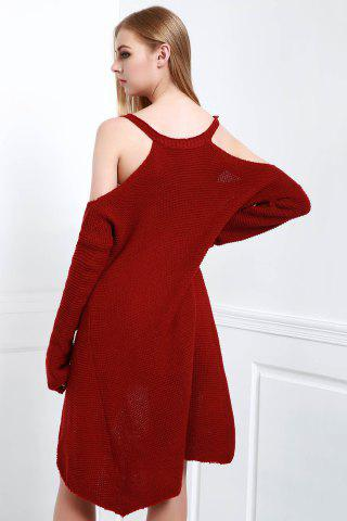 Outfits Cold Shoulder High Low Slip Sweater - XL CLARET Mobile