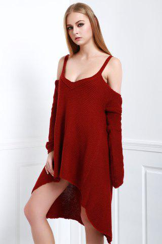 Outfit Cold Shoulder High Low Slip Sweater - XL CLARET Mobile