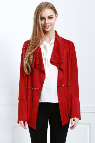 Trendy Stylish Fringe Suede Women's Coat - L RED Mobile