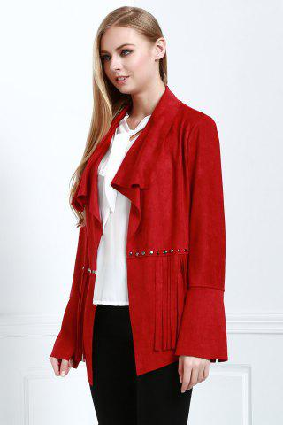 Buy Stylish Fringe Suede Women's Coat - L RED Mobile
