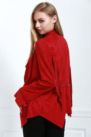 Online Stylish Fringe Suede Women's Coat - L RED Mobile