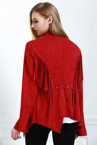 Hot Stylish Fringe Suede Women's Coat - L RED Mobile