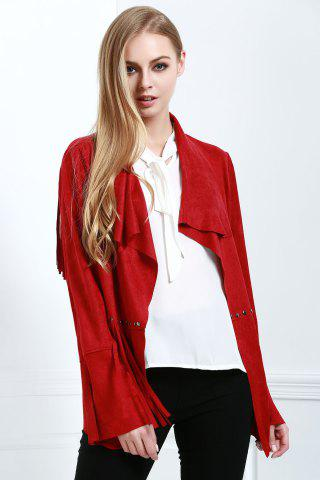 Sale Stylish Fringe Suede Women's Coat - L RED Mobile