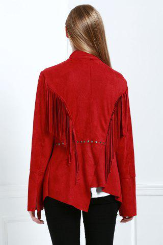 Fashion Stylish Fringe Suede Women's Coat - L RED Mobile