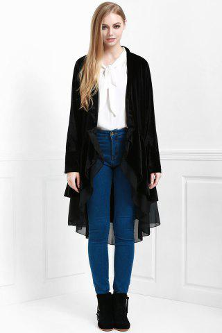 Sleeve Swingy Velvet Womens Coat