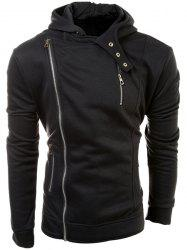 Casual Solid Color Multi-Zippers Long Sleeve Hoodie For Men