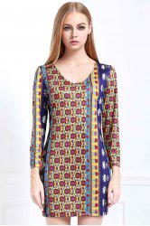 Sexy Round Neck Long Sleeve Low Back Printed Women's Bodycon Dress
