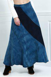 Stylish High Waisted Color Block Denim Women's Skirt