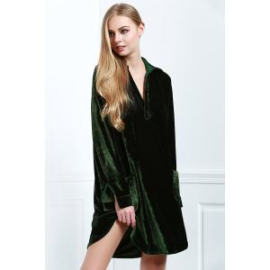 Cozy Velvet Long Sleeve Button Down Shirt Dress - Army Green - M