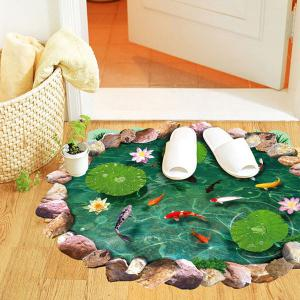 Special 3D Lotus Pond Design Sticker For Bathroom -