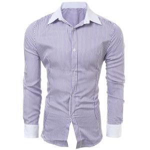 Casual Slim Fit Stripe Color Block Collar Long Sleeve Shirt For Men - Purple - M