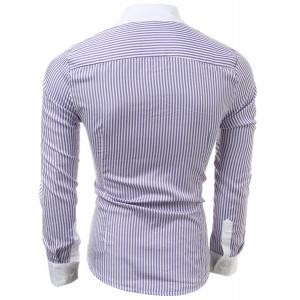 Casual Slim Fit Stripe Color Block Collar Long Sleeve Shirt For Men - PURPLE M
