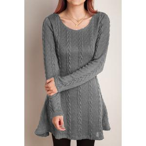 Scoop Neck A-Line Long Sleeve Dress