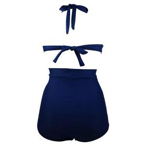 Ruched High Waisted Bikini With Halter Top - DEEP BLUE 2XL